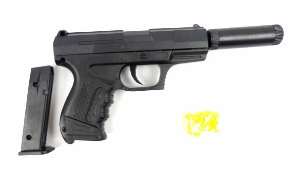 Kinder Spielzeug-Pistole Softair-Waffe Toy-Gun RG041A schwarz Federdruck 0,1-2J Weapon im Set mit Kugeln