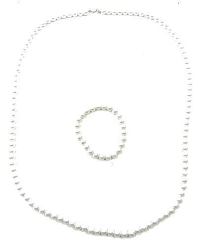 Perlenketten Set Perlen Kette mit Perlen Armband Schmuck Set Perlensets (72, weiss)