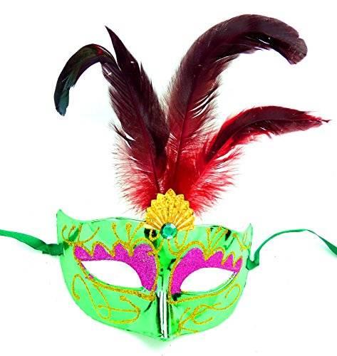 Masken Herren Damen Feder Maske grün elegant mit roten Federn venezianische Karneval-Gesichts-Maske Fasching-Feder-Mask (#2G-R) 2884