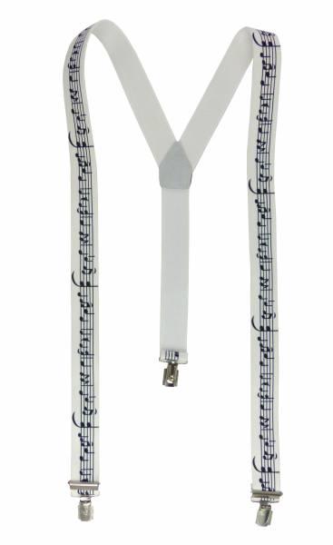 Hosenträger Herren Damen Musiker Chor-Suspenders weiss mit Noten-Motiv tolles Design, mit 3 Clips, 3,5 cm