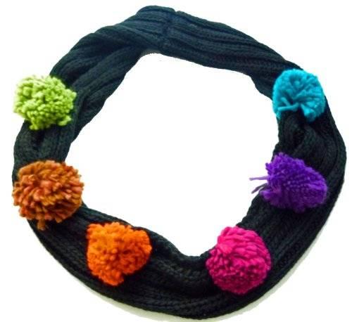 Damenschal Baumwolle schwarz mit bunten Puscheln