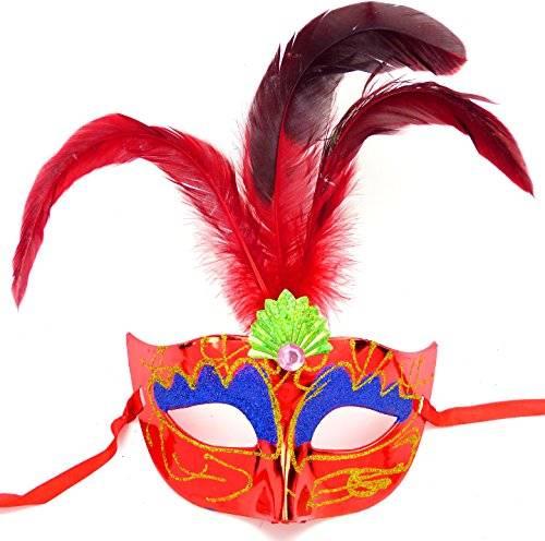 Masken Herren Damen Feder Maske rot elegant mit Federn rot venezianische Karneval-Gesichts-Maske Fasching-Feder-Mask (#2R-R) 2213