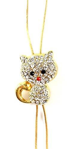 süsse Baby Katzen Strass Halsketten Silber oder Gold mit Strass OW2 (Gold)