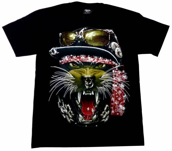 T-Shirts schwarz 3D Herren Damen Killer-Puma Design Party Shirt schwarz Karneval Fasching 3D Hemd Glow in the Dark Halloween Theme Skull Pirat Sword Shirt leuchtet im dunkeln Größe: L 5246