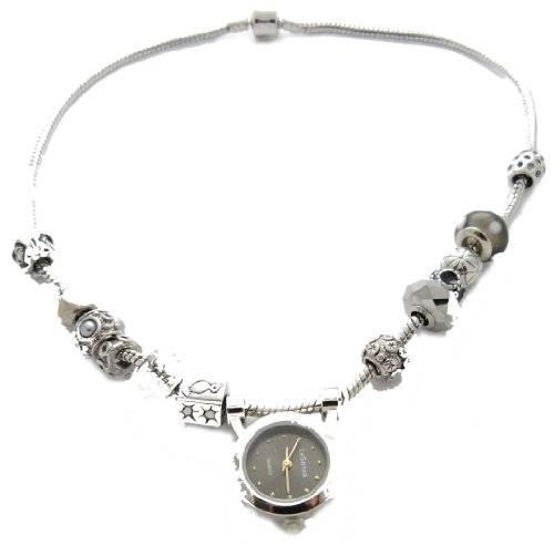 Beadsarmband Uhr oder Beadskette mit Beaduhr SCHWARZ
