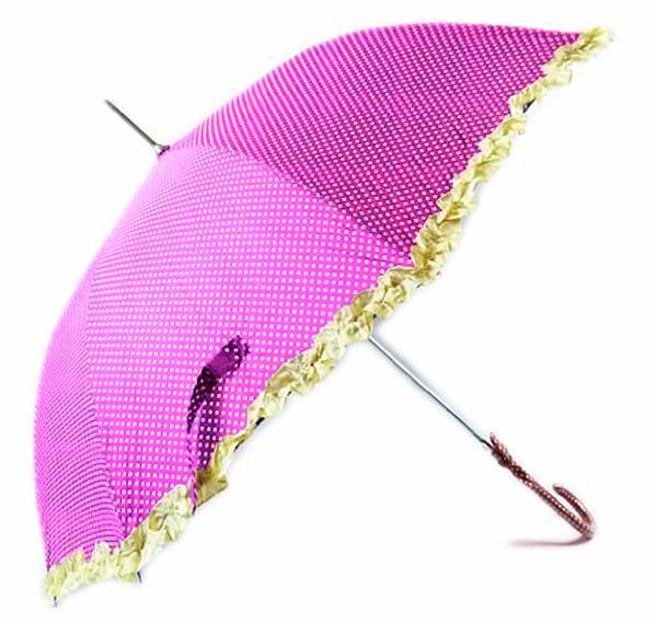Prinzessin Regenschirm 50er Jahre Stil gepunktet in rosa-pink