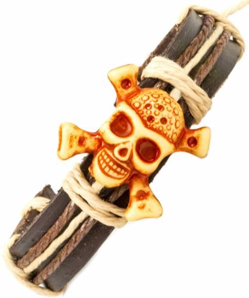 Herren Leder Armreifen Schmuck Armband Vintage Einstellbar Surf Armkettchen Motiv Totenkopf