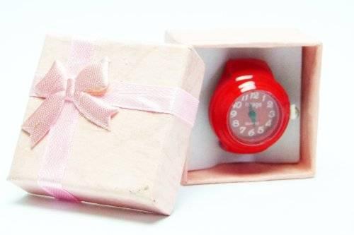 Ring Uhr Kinder Uhr Damen Herren Uhrenring rot in Geschenkbox, Uhr als Ring, alle Größen Univeral Size in kirschrot Red