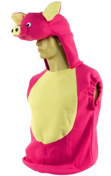 Schweine Kostüm Halloween Pig Suit Herren Damen Verkleidung Karneval Fasching Maske mit Pullunder PINK 4678