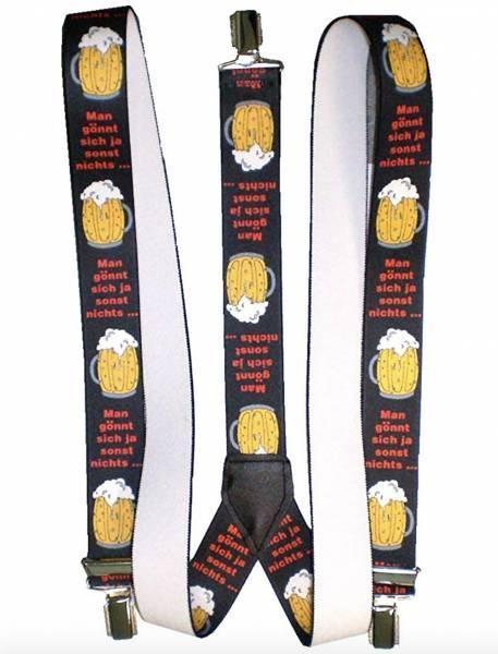 Herren Damen Hosenträger schwarz mit Motiv Text Bier