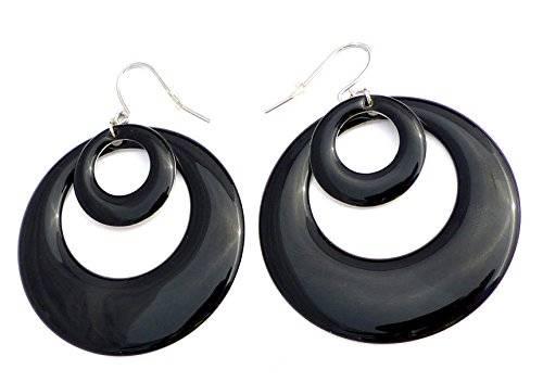2 Stück schwarze Designer Creolen Ohrringe Ohrstecker Black Silver O50