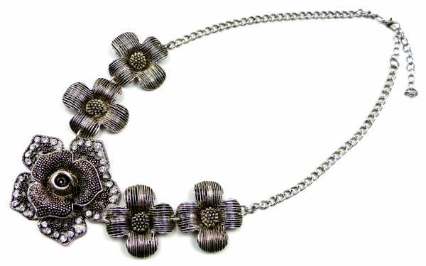 Halskette edle Statement Kette schwarz 4347 Damen Collier darkshine
