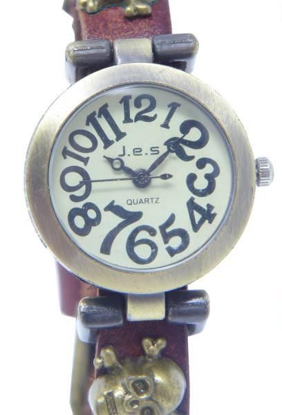 Halloween Totenkopf-Uhren Wickel-Armband Leder braun mit Totenköpfen