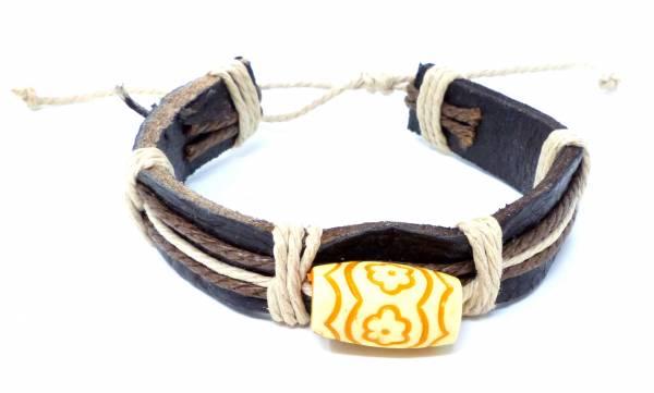 Armband Herren Damen Leder-Armbänder Handmade - Flower-wave