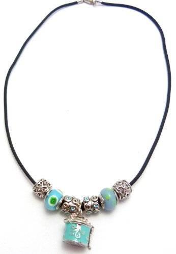 Damen Halskette Beads Charms Handmade mit Anhänger Dose TÜRKIS
