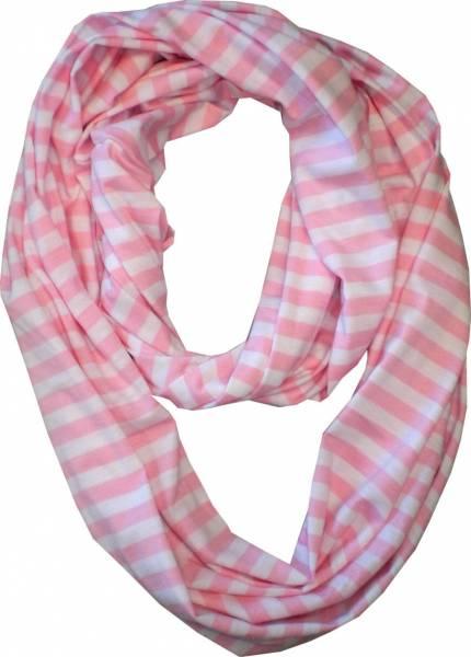 Schals Herren Damen Loop Schal rosa XL Schlauch Rund Schals gestreift Rundschal (Streifen rosa) 4840