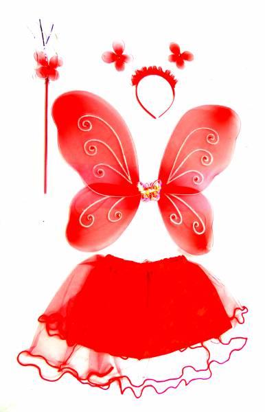Kostüm Kinder Kostueme Verkleidung Feen Set rot - Feenflügel Set  - 4-teiliges Set - Rot