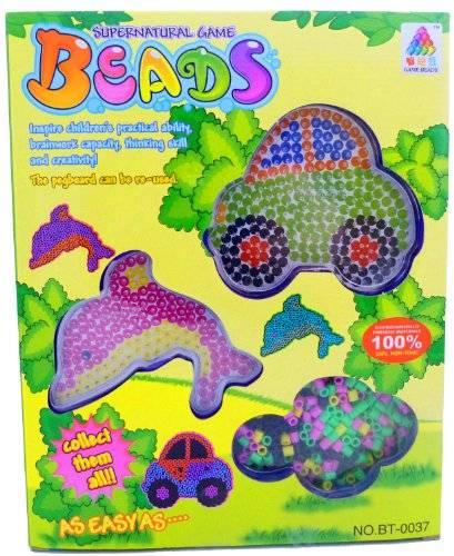 Spielzeug 2985 Bügelperlen Set Perlen Set mit Rahmen  Bügelbilder für Kinder Auto und Delfin