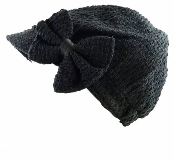 Mützen Damen Winter Mütze black mit Schleife Viele Modelle 1561  (schwarz)