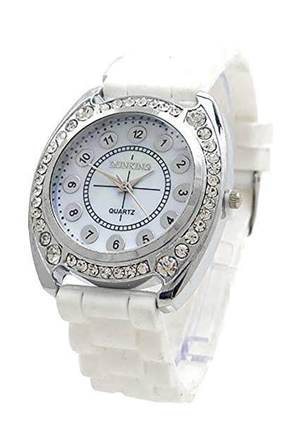 Damenuhr weiss Strass-Uhren Designer Armbanduhr Sport-Uhr mit Strass Lady Watch DK WT
