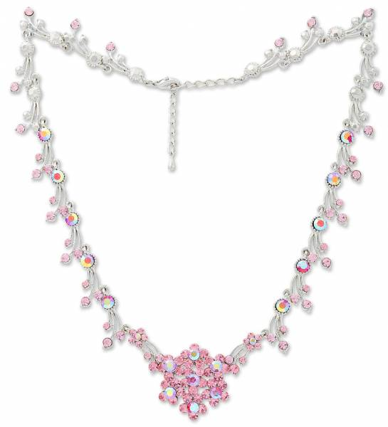 Damen Halskette Silber mit Swarovski Steinen besetzt rosa