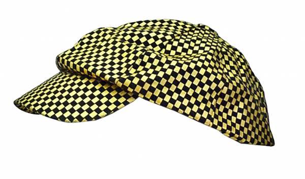 Damen Schirm-Mütze schwarz-gold Designer Flat-Caps Golf Cap mit elegantem Karo-Muster Black