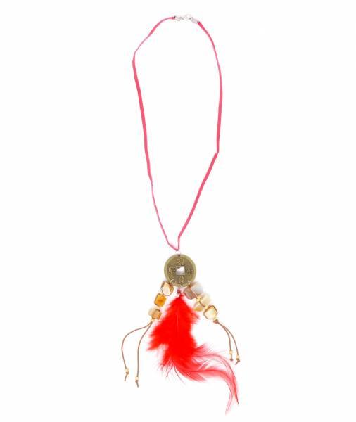 Damen-Halskette Karneval-Fasching Indianer Kostüm Feder-Schmuck rot