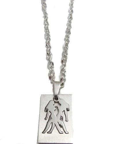 Kette 3445 Sternzeichen Hals Kette 50cm mit tollem Sternzeichen Anhänger - Zwilling