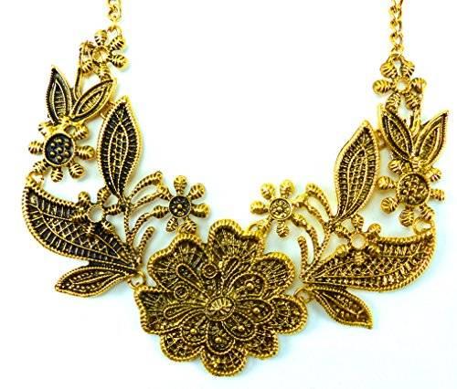 hochwertige Statement Kette golden Flowers Ux4