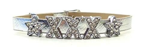 viele Damen Designer Armbänder mit schönen Strass Buchstaben XXX (silber)