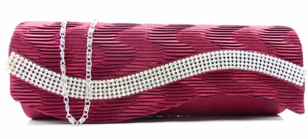 Handtaschen 4660 Clutch Damen Handtasche der Extraklasse mit Glamour Strass viele Modelle (red wave)