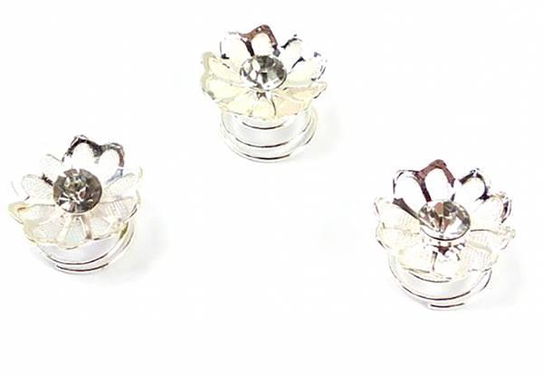 Haarspiralen Hochzeit-Haarschmuck mit Strass besetzt 10mm christall white Flower (12 Stk)