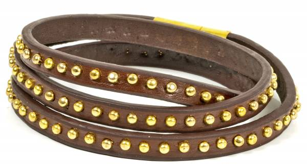 Premium Nieten-Armband Leder-Armband Gold-Nieten Echtlederarmband für Damen in Braun