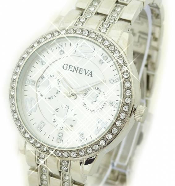 Uhr 4398 Armband Uhr Herren / Damen-Uhren Genev. Watch Silver Star Strass