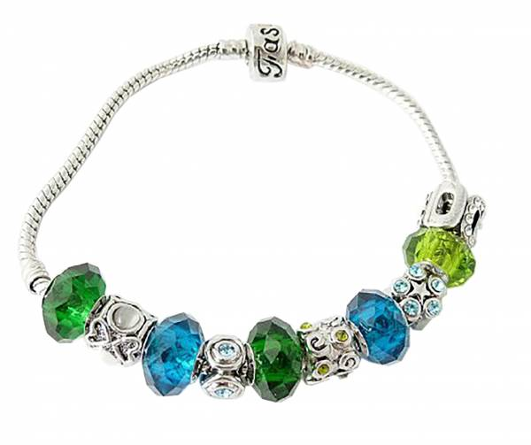 Damen Armband silber Charms blau grün Strass Beads
