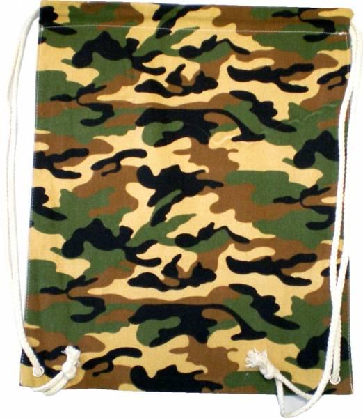 Beutel Rucksack Herren Damen Hipster Tasche tarnfarbend Turnbeutel Segeltuch Seemannsbeutel Stoffbeutel Kinder Gym Tasche - Camo Wood 4735