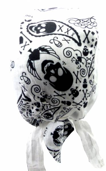 Kopftuch weiss paisley-Muster Totenkopf Design Herren Damen Kopftuecher Punk Rock Men Woman Head-Scarf white Paisley Skull Theme 5184