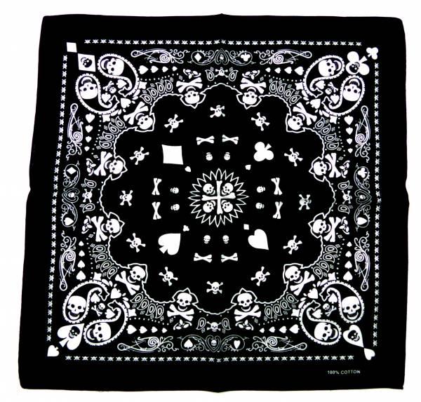 Nickituch schwarz Herren Damen Totenkopf Bandana Tuecher Skull-Paisley black Killer Design Men Woman universal Shawl pasly Kopftuch Palesti. Scarf Halstuch Armband Nikituecher ca 53x53cm 5290