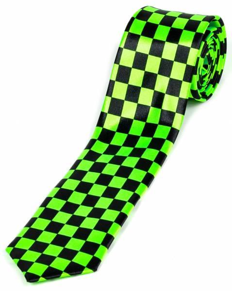 Motto-Krawatte Designer Schlips Schwarz Karo Bicolor Schwarz Grün