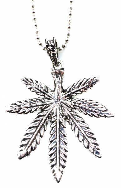 Herren Damen Halskette Metall mit Hanf-Blatt Anhänger Edelstahl