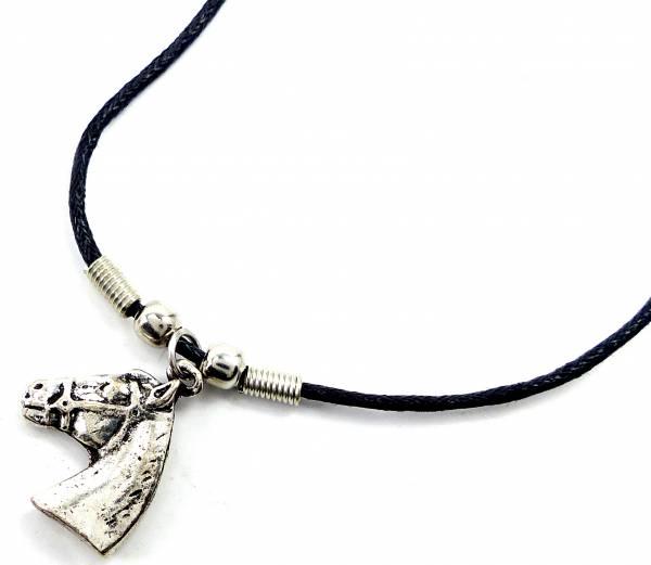 Kette 4344 Halskette Leder Kette Lederhalsband mit Anhänger (Pferdekopf)