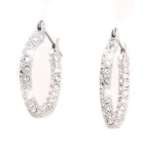 Tillberg Damen-Ohrringe mit Swarovski-Steinen Creolen-silber Ohrring Set der Extraklasse 2Stk Silber Creolen 4536