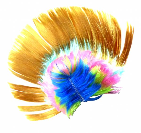 Perücke gold WM Fan-Artikel Herren Damen Haar-Ersatz Punk-Rock Fasching Halloween Frisur Karneval Neon Haar Peruecken (gelb)
