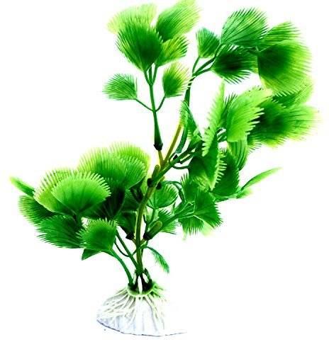 dekorative Aquarium-Pflanzen Kunststoff Terrarium Pflanzen Grün 18cm auf Stein