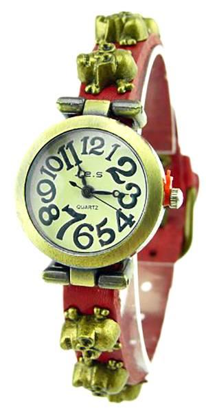 Armbanduhr-Totenkopf-Wickelarmband-Uhr mit Totenkopfnieten rot-braun U59-1