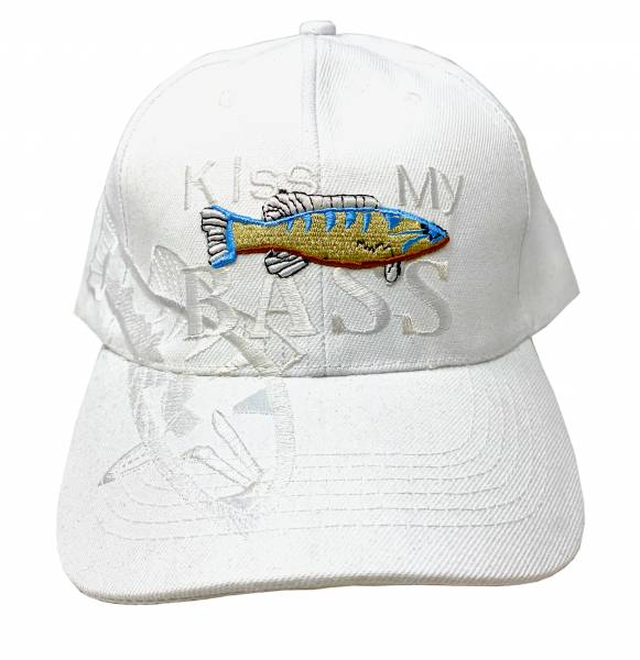 Herren Damen Fischer Cap Schirm Muetze Motiv Fisch white Kiss my Bass