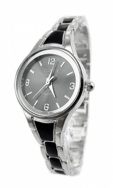 Damen-Uhr Metall-Armband schwarz-silber Designer-Uhren Glieder-Armbänder Uhr Agnex Black