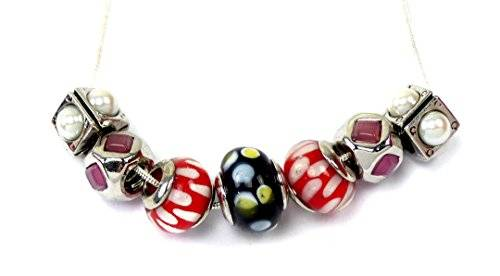 Halskette Damen Beads-Ketten Charms mit Anhänger Handmade