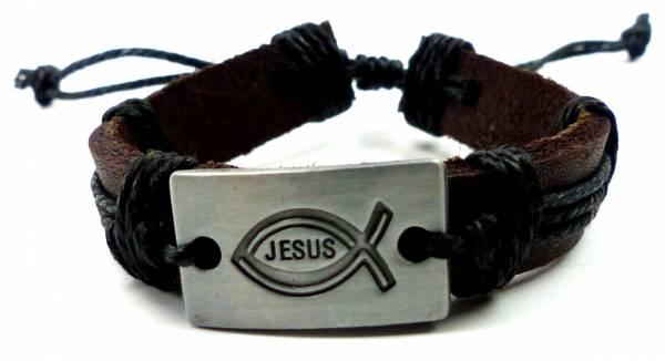 Armband Herren Damen Arnbaender braun Jesus Christus Gebets Armband Ichtyhs Fisch Leather bracelet 4814