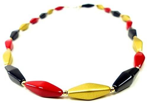 Kette Damen Halsketten National Schmuck schicke Deutschland Ketten Merkelkette schwarz rot gold 3814